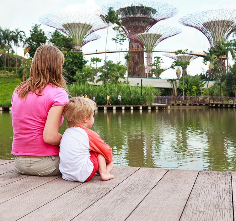 Mother and son sightseeing Singapore