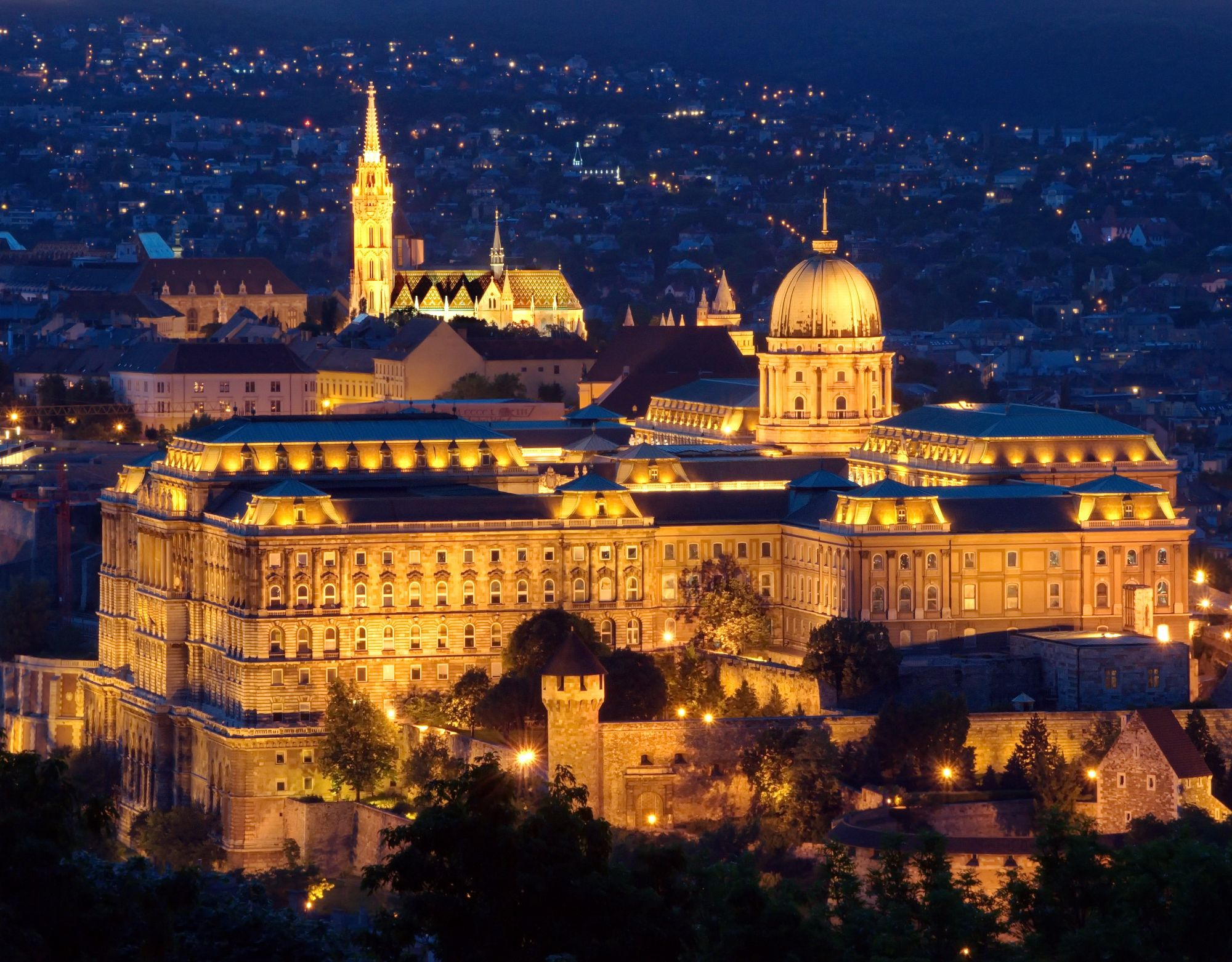 Royal Palace in Budapest at night