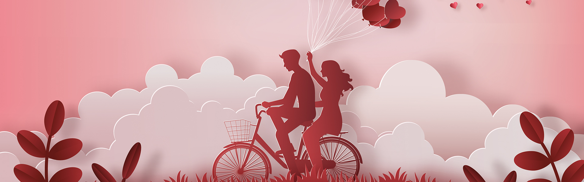 Illustration of couple cycling together