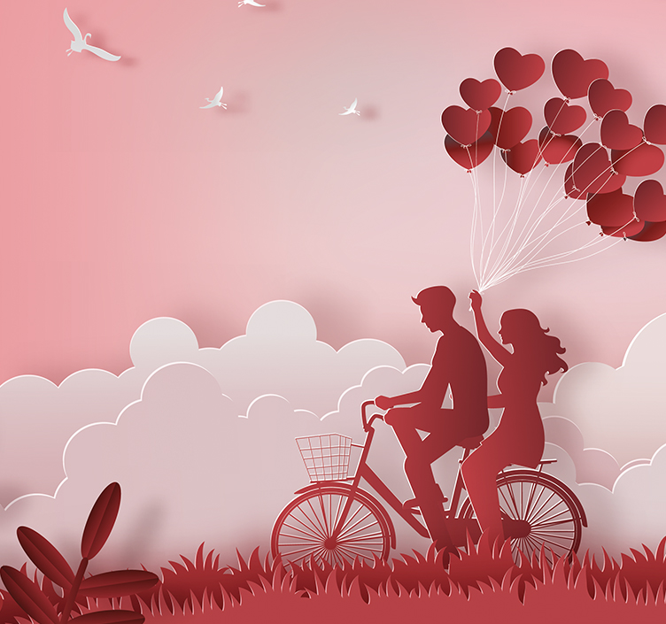 Illustration of couple cycling together holding balloons