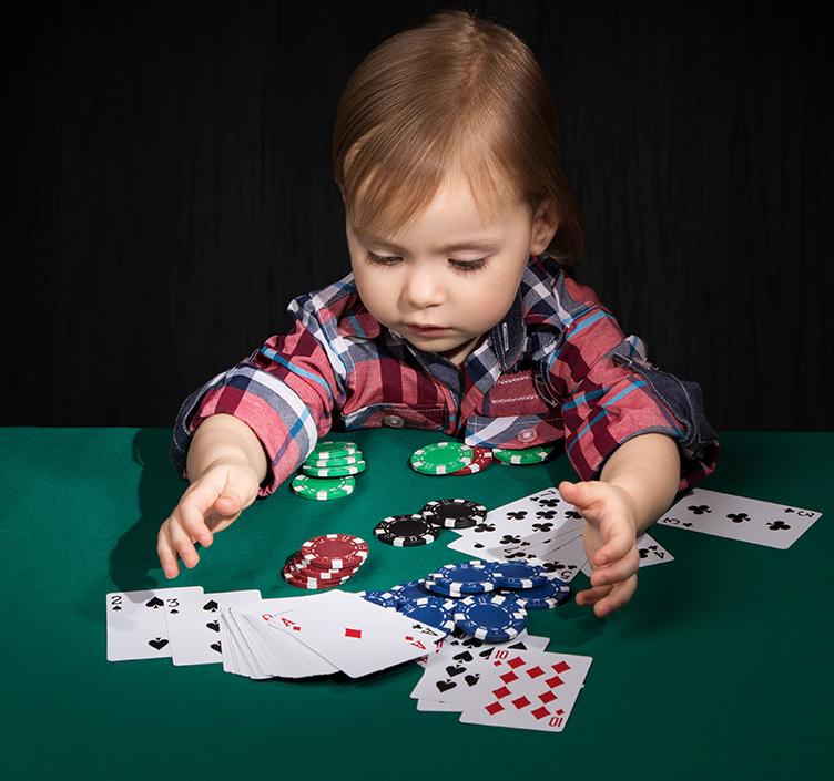 Child playing poker!