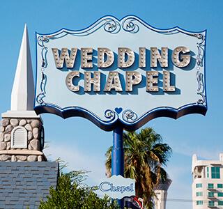 Weddign Chapel Sign in Las Vegas