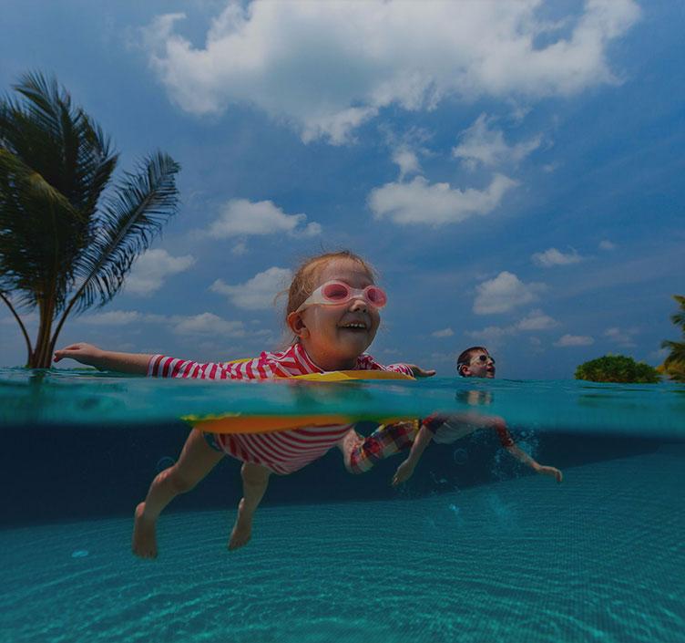Kids swimming in Miami