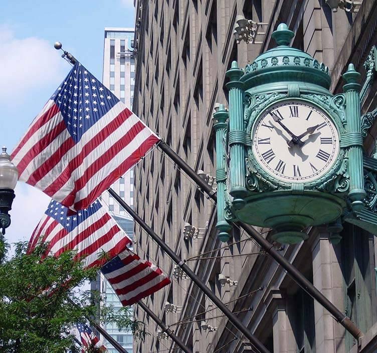 Magnificent Mile Clock in Chicago