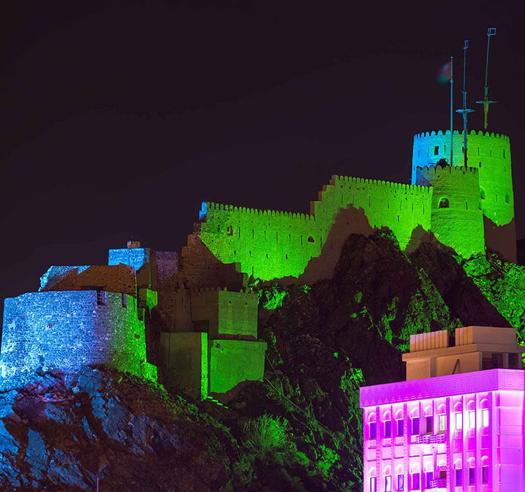 Mutrah Fort in Muscat at night
