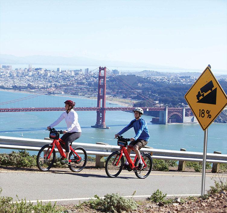 Men riding bikes in San Francisco