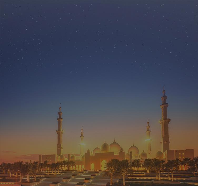 Scheich-Zayid-Moschee in Abu Dhabi bei Sonnenuntergang