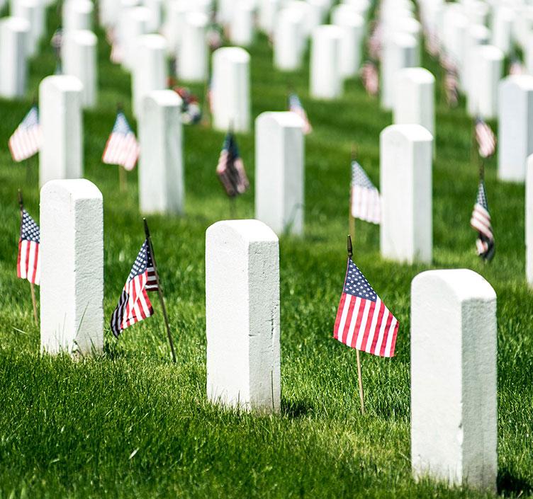 Graves at Arlington Cemetery in Washington DC
