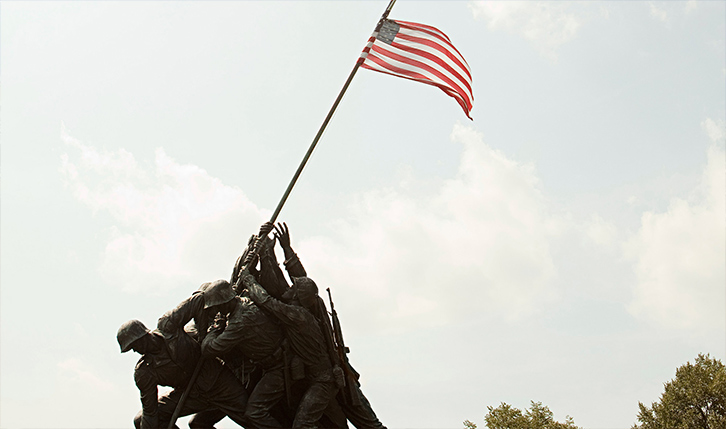 Iwo Jima Memorial in Washington DC on a cloudy day