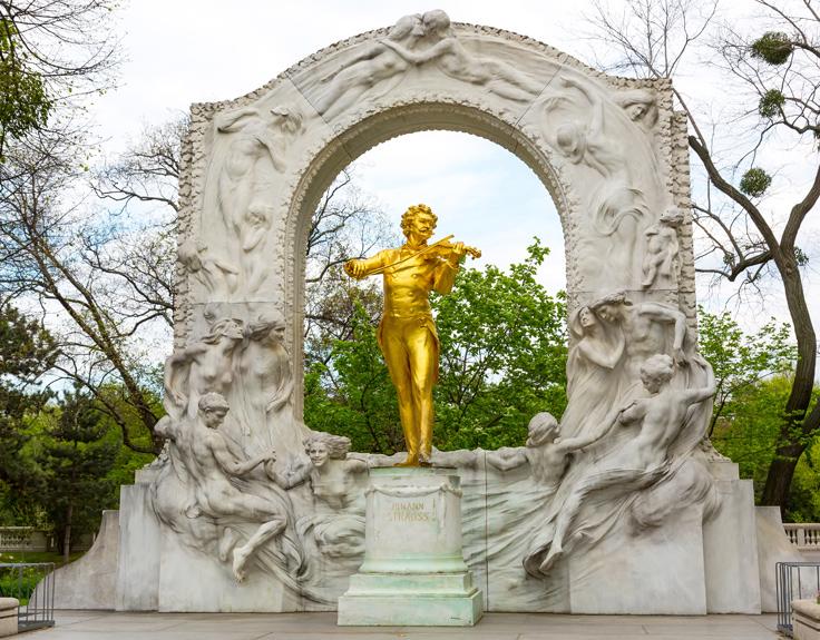 Statue of Johann Strauss in Vienna, Austria