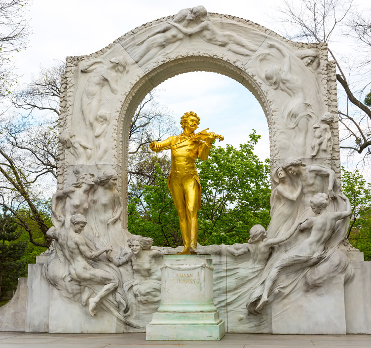 Statue of Johann Strauss in Vienna, Austria