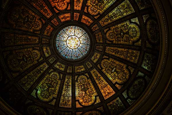 Tiffany stained-glass dome in the Preston Bradley Hall
