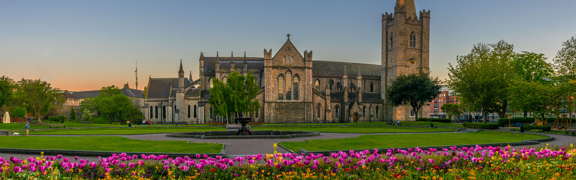 View of Dublin church with flowerbeds