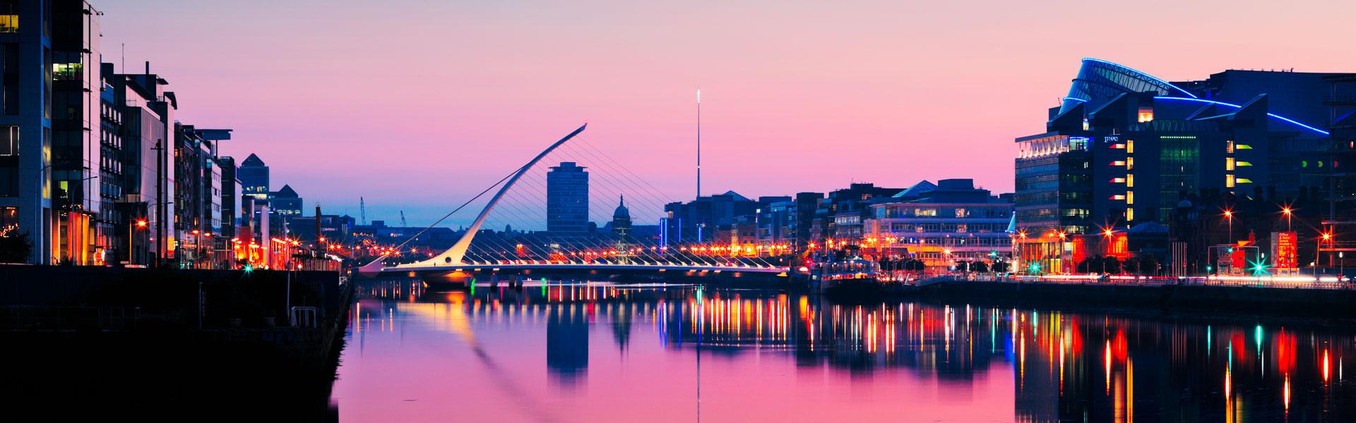 View of Dublin River Liffey at Dusk