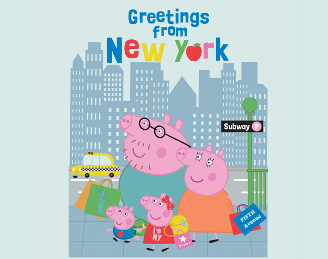 Peppa Pig and family in New York