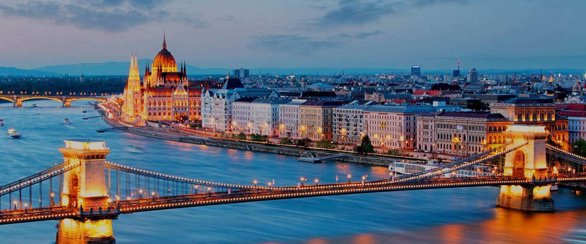Budapest Night City View