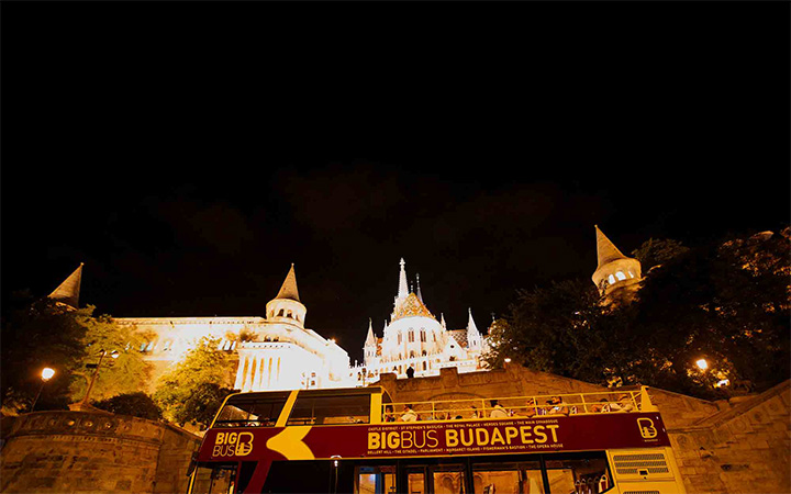 Fishermans Bastion in Budapest at night