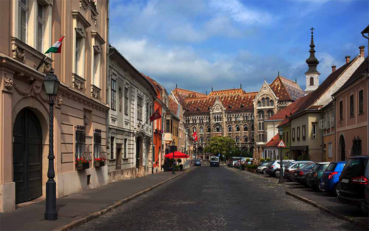 Castle district street in Budapest