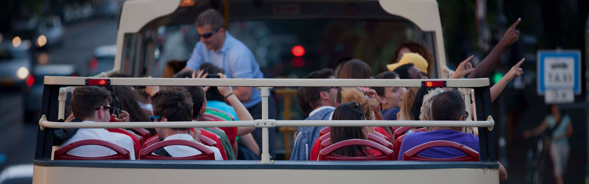 Passengers on a bus tour in Budapest
