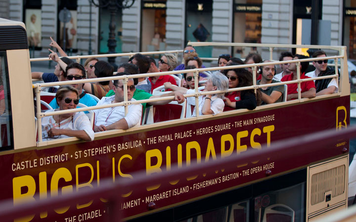 Passengers On The Top Deck of a Big Bus Tours Budapest Bus