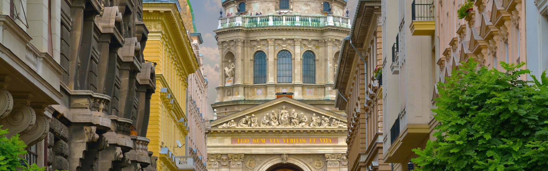 View of St Stephens Basilica from a street in Budapest