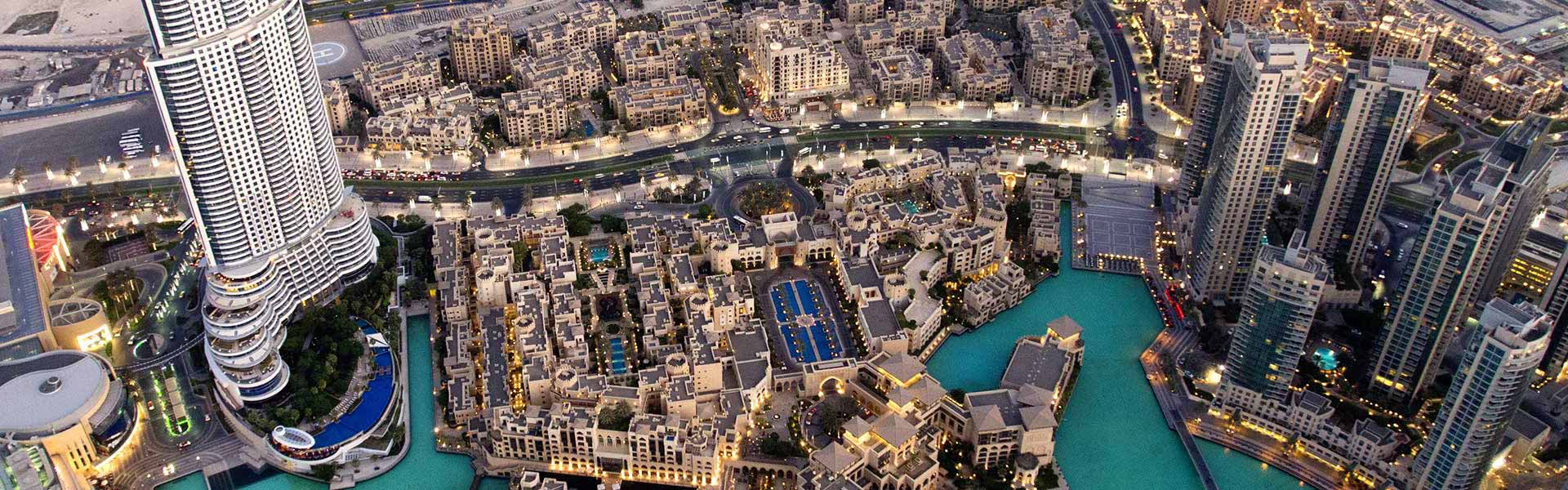 Ariel view of Dubai Skyline