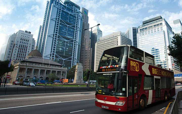 Bus Bus Tours pulls in to Hong Kong bus stop
