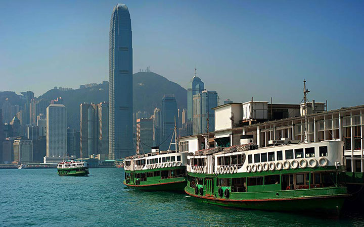 Docked Star Ferries in Kowloon, Hong Kong