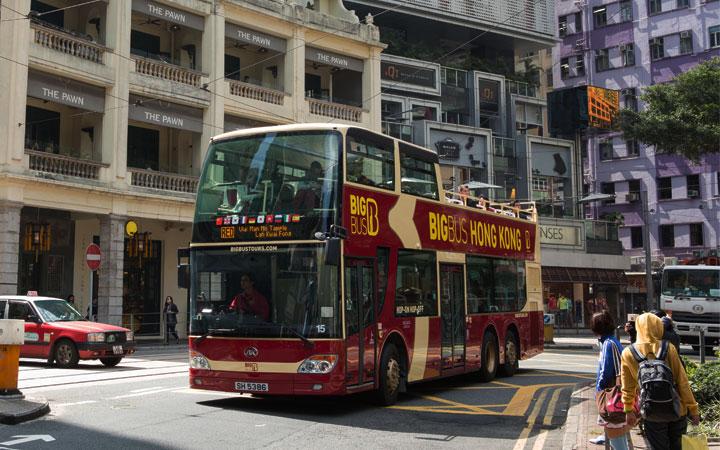 View of Big Bus Tours in Hong Kong