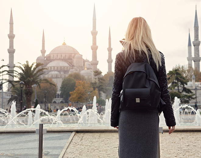Lady looking out to the Blue Mosque, Istanbul