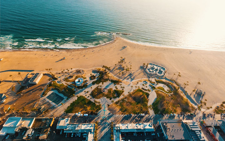 Aerial view of Venice Beach Los Angeles