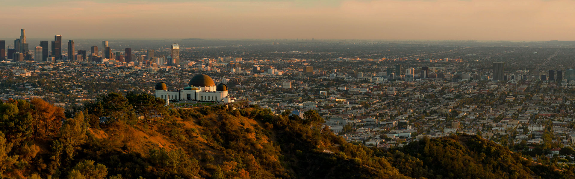 Panoramic view of Griffith Observatory with Downtown Los Angeles in the background