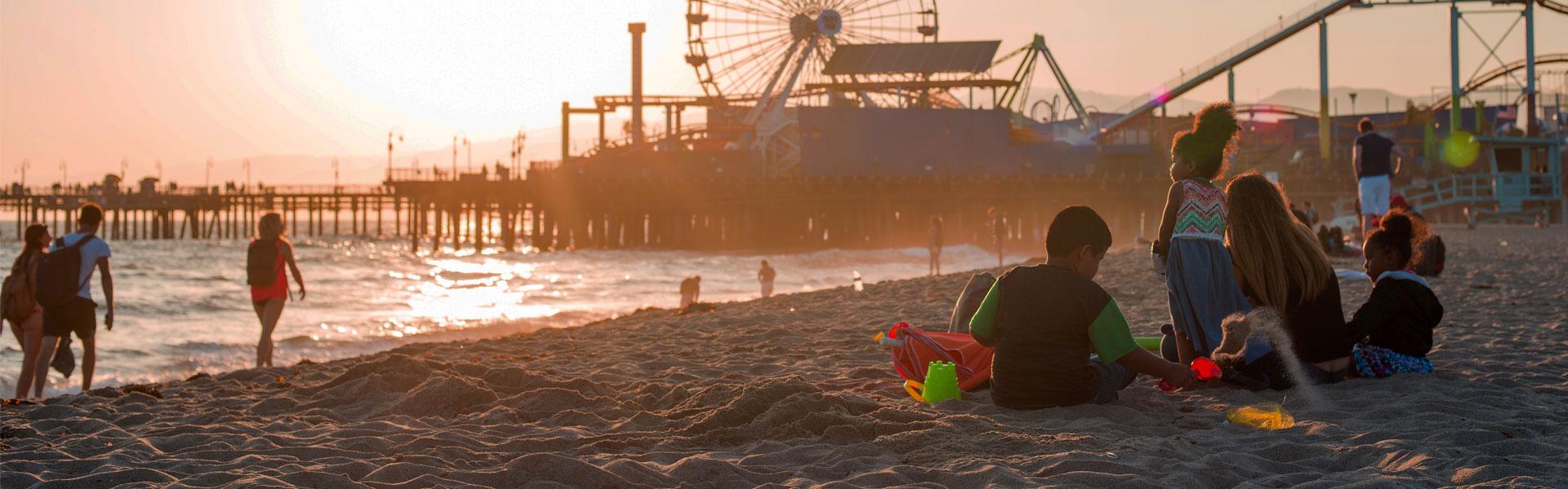 View of Santa Monica Pier at Sunset
