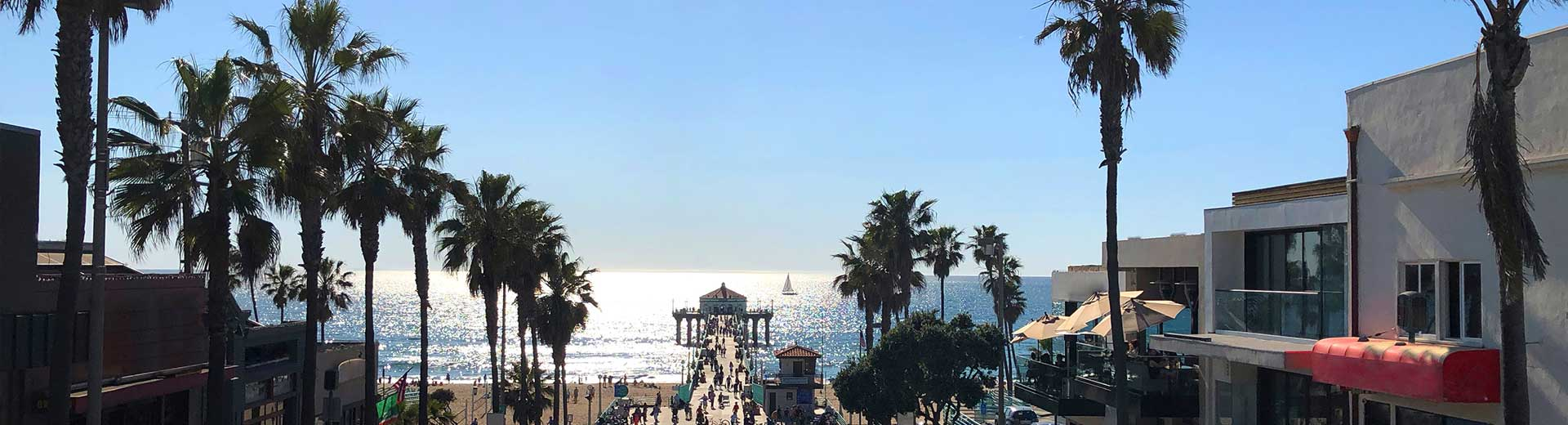 Panoramic view from Manhattan Beach Road to Pacific Ocean