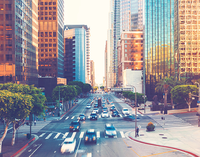 Cars driving through Los Angeles