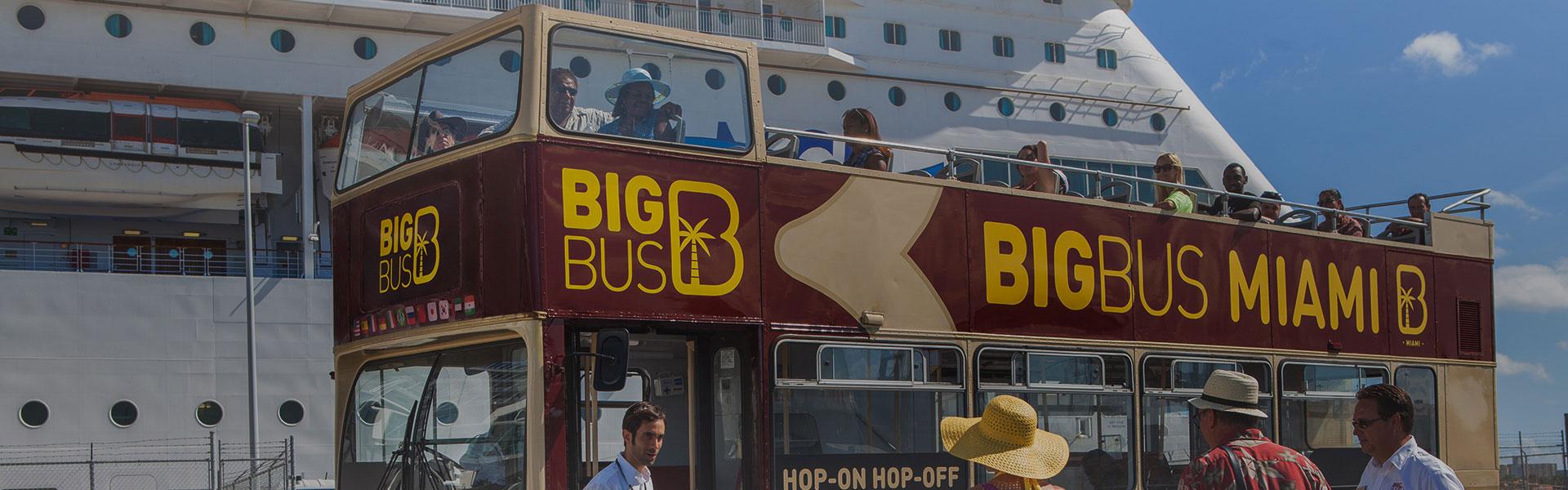 Big Bus next to Cruise Ship
