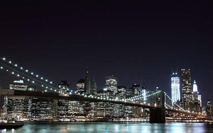 Skyline von Manhattan bei Nacht