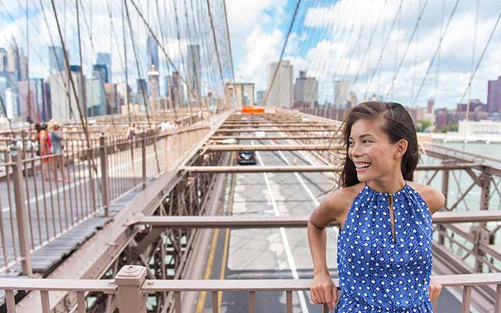Woman on Brooklyn Bridge in New York