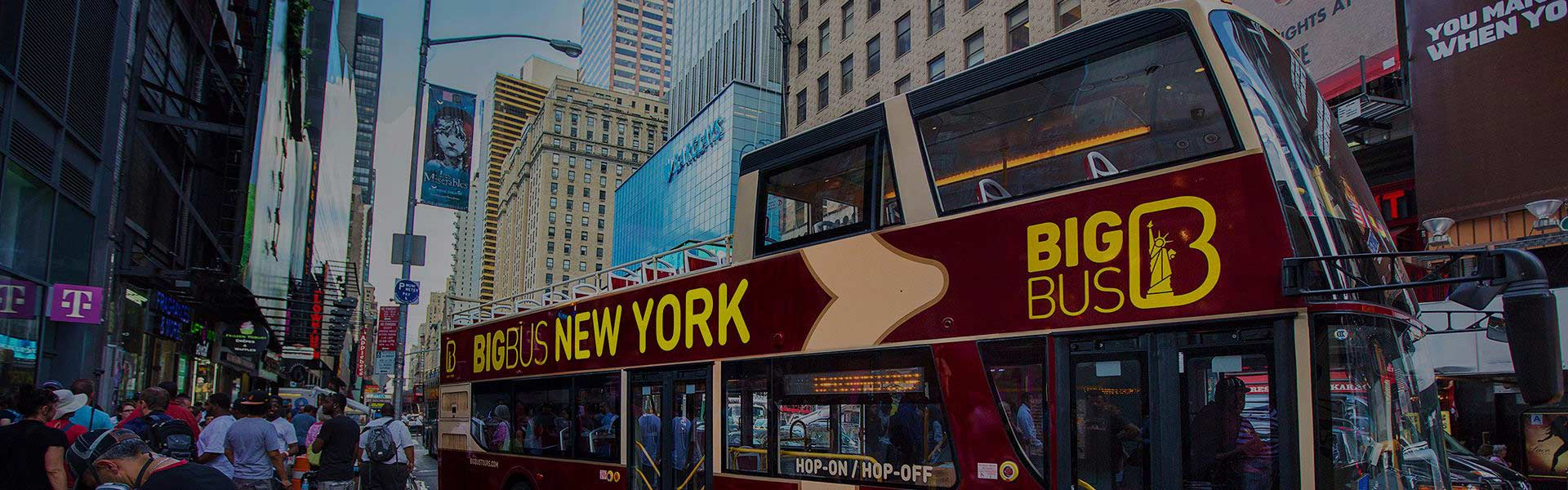 Big Bus sightseeing tour driving in New York