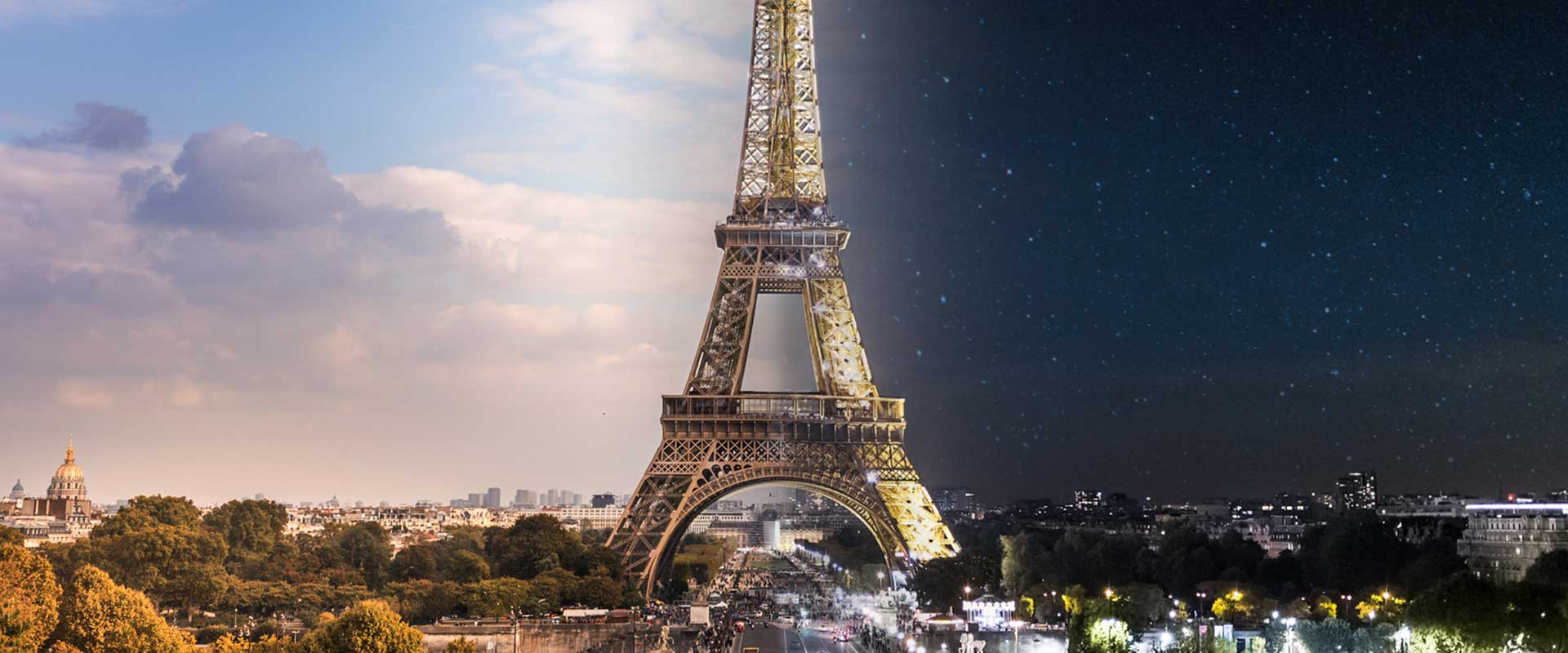 Eiffelturm Tag und Nacht