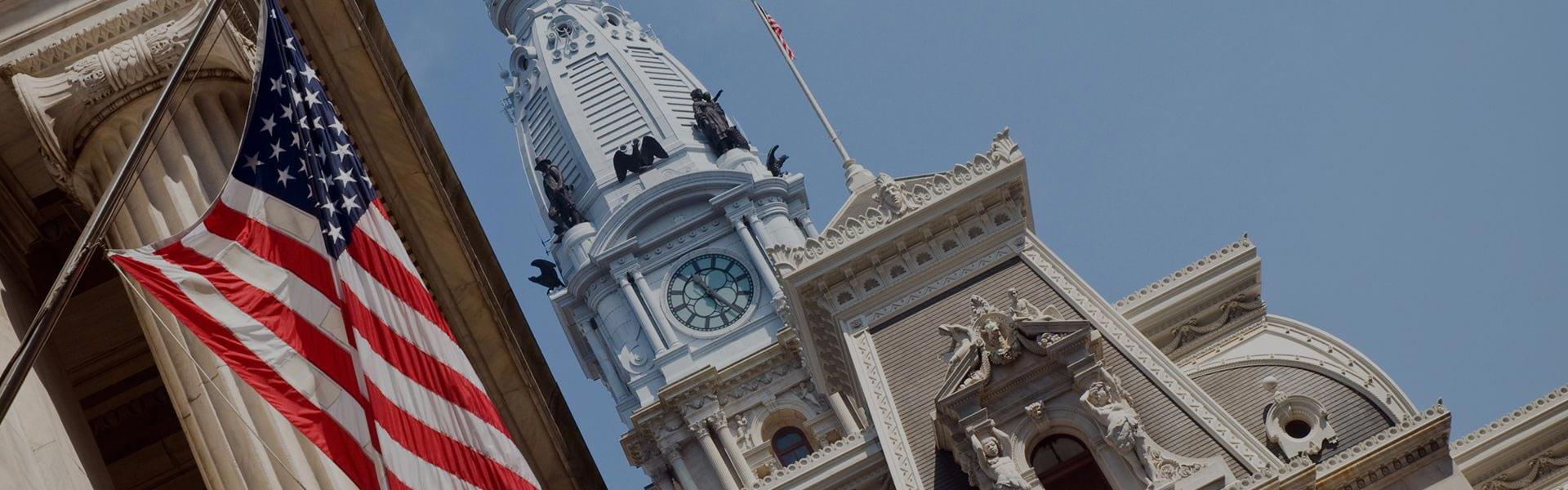 City Hall with American flag in Philadelphia