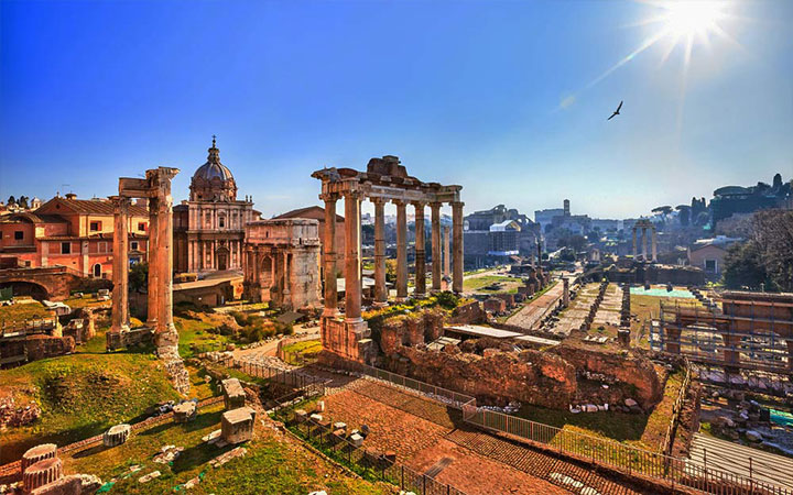 The Roman Forumj photographed at sunset