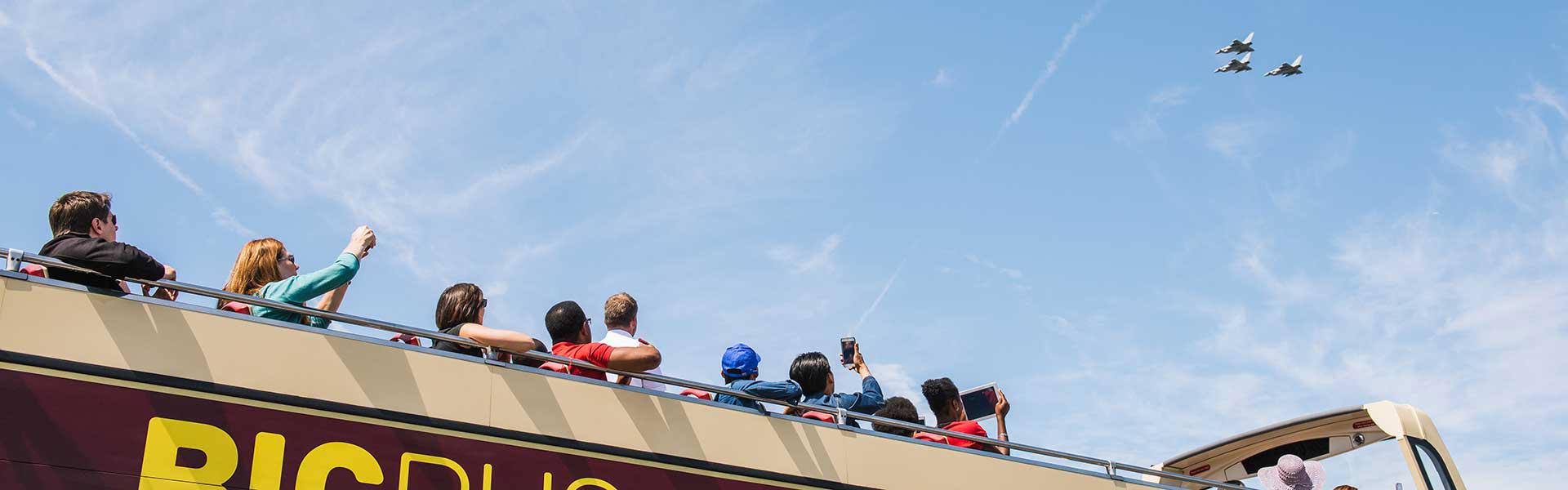 Tourists on Rome Big Bus