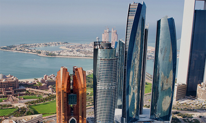 Abu Dhabi skyline and coast