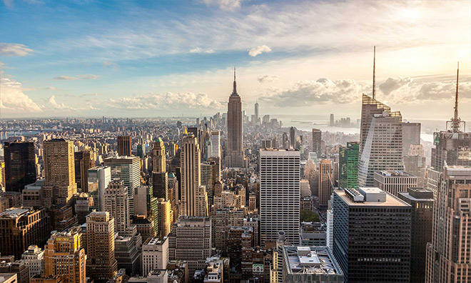 Ariel view of downtown New York City