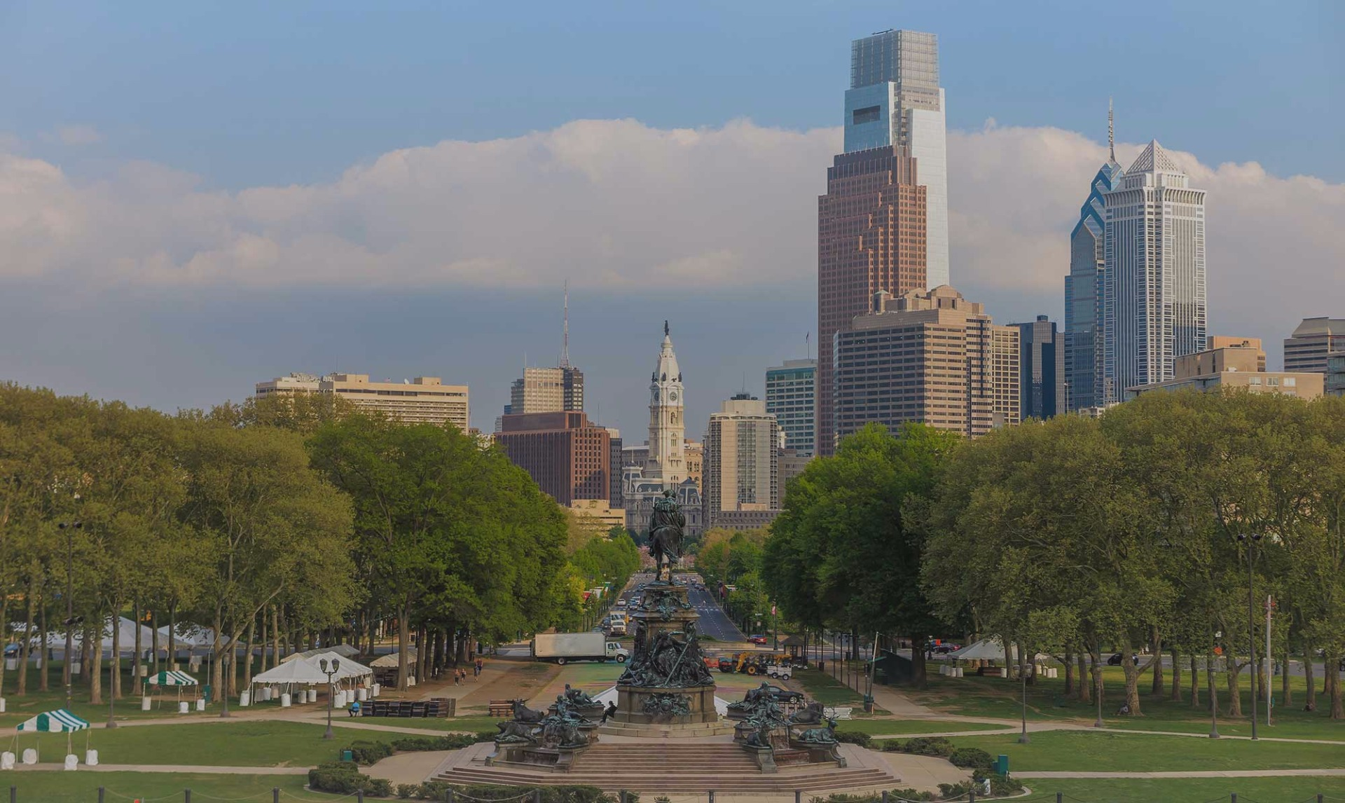 View of street with City Hall in Philadelphia
