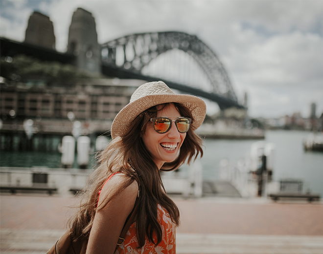 Lady sightseeing Sydney