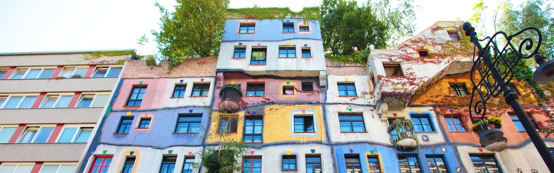 View of Hundertwasser House Vienna