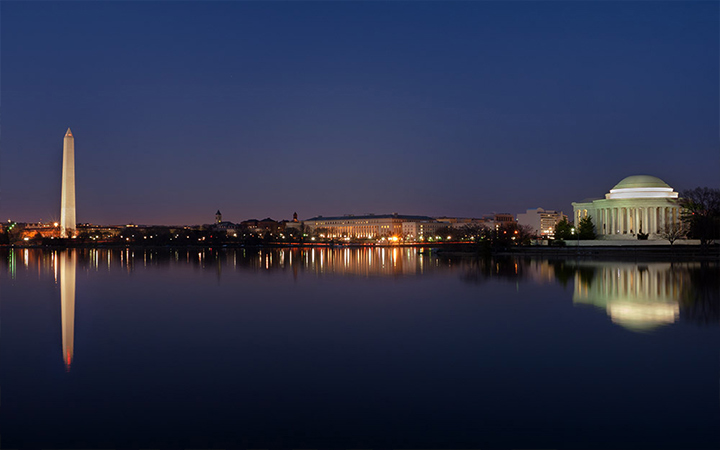 Evening view of the Washington Monument and Jefferson Memorial